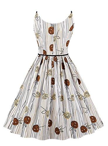 Vintage Neck Swing White Women's Killreal Holiday Sleeveless Dress Casual Round PRawx5g