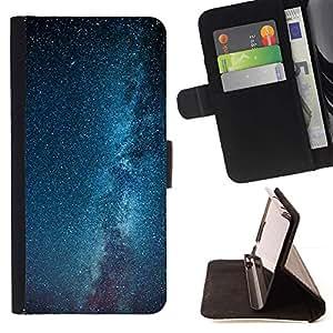 Momo Phone Case / Flip Funda de Cuero Case Cover - Vía Láctea Estrellas Cielo Azul - Samsung Galaxy S6