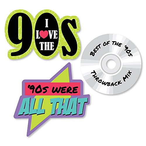 90s Themed Decorations (Big Dot of Happiness 90's Throwback - DIY Shaped 1990s Party Cut-Outs - 24)