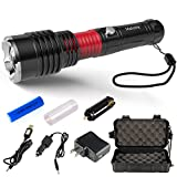 MalloMe 5000 Tactical LED Rechargeable Flashlight Ultra Bright 500 Lumens with Zoomable Adjustable 5 Torch Light Modes, 18650 Battery, USB, Wall, and Car Charger Included (8 Piece Set)