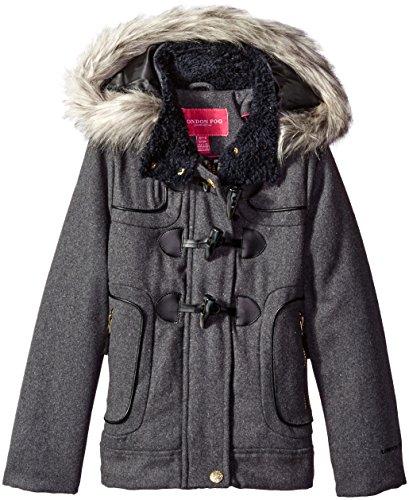 - London Fog Girls' Big Toggle Wool Coat with Faux Fur Hood, Grey 7/8