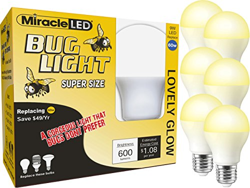 (MiracleLED 604056 Wide Angle Yellow 60W Replacement Bulb (6 Pack) Bug Light 2 Piece)