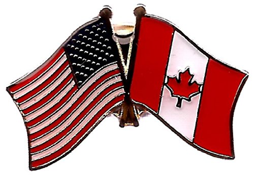 PACK of 50 Canada & US Crossed Double Flag Lapel Pins, Canadian & American Friendship Pin Badge ()