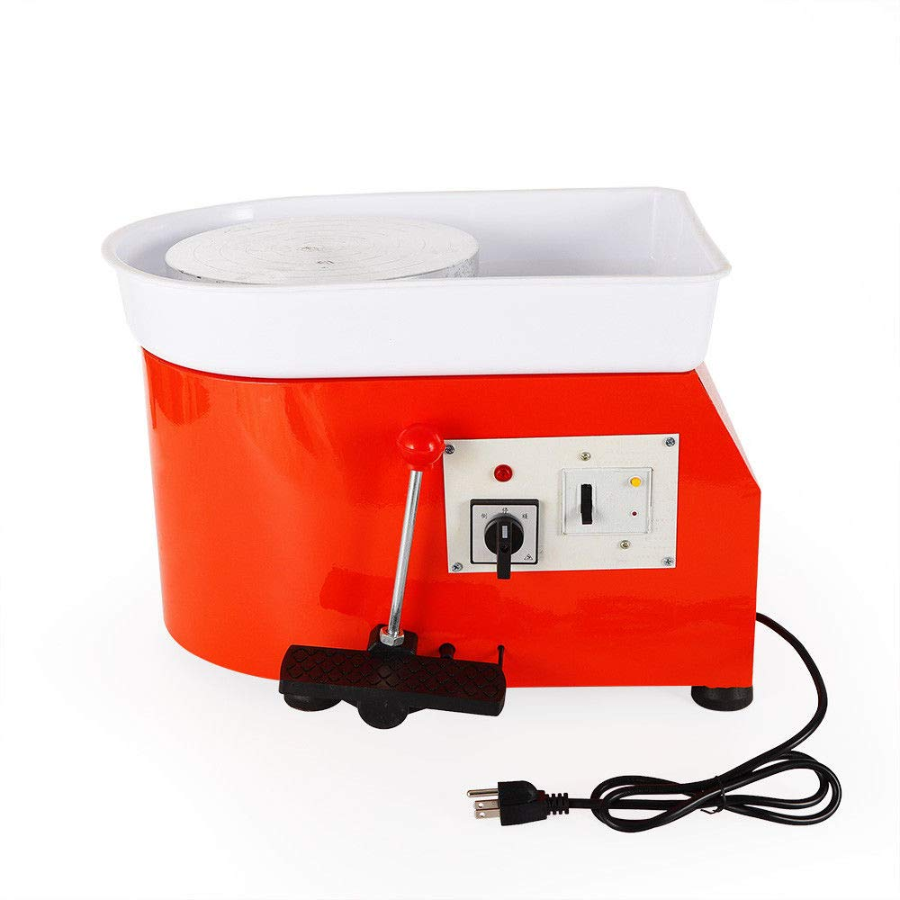 25CM 350W Pottery Wheel Machine Pottery Forming Machine DIY Clay Tool with Tray for Ceramic Work Ceramics Clay - Orange