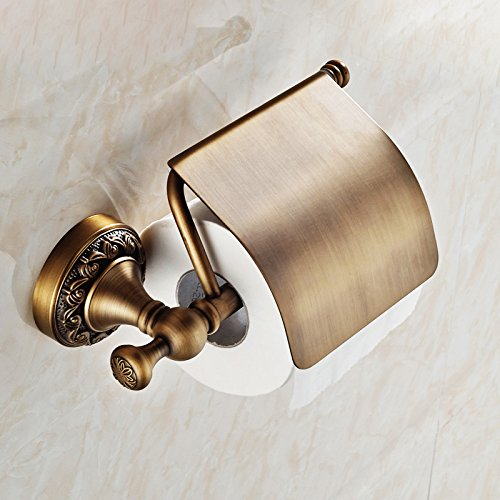 durable service Rozinsanitary Wall Mount Toilet Roll Paper Holder Antique Brass