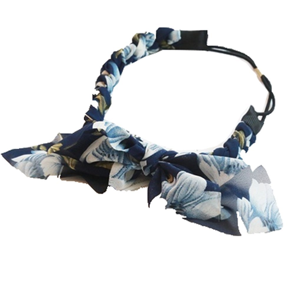 TheFound Fashion Women's Summer Floral Printed Headband Girl Twisted Knotted Fabric Yoga Headwrap (One Size, Navy Blue)