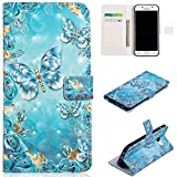 for Samsung Galaxy A5 2017 Wallet Case and Screen Protector,QFFUN Glitter 3D Pattern Design [Blue Butterfly] Magnetic Stand Leather Phone Case with Card Holder Drop Protection Etui Bumper Flip Cover