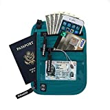 Zoppen Rfid Travel Passport Wallet Neck Holder Ultra Slim Stash Money Pouch - Water Proof, Aqua Green