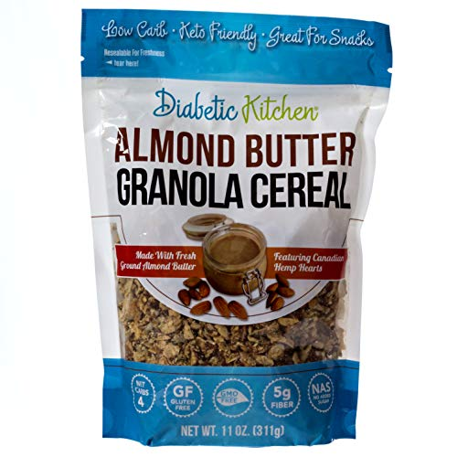 Diabetic Kitchen Almond Butter Granola Cereal, 4g Net Carbs, No Sugar Added, Keto Friendly, Low Carb, Gluten-Free, High Fiber, Non-GMO, No Artificial Sweeteners or Sugar Alcohols Ever (11 oz) (Oatmeal Chocolate Chip Cookie In A Mug)