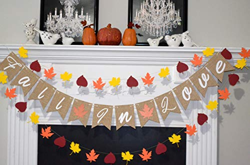 (Burlap Fall in Love banner, Burlap fall in love sign, burlap fall bridal shower decor)