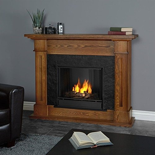Real Flame Kipling Gel Fireplace Burnished Oak - Oak Finish Gel