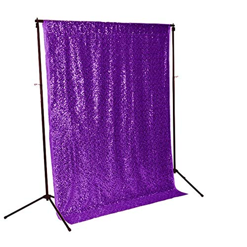 ShinyBeauty Sequin Backdrop-Purple-3FTx5FT,Christmas Glitter Chic Curtain,Sparkle Wedding Backdrop,Photo -