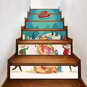 Conjunto De 6 Piezas Pegatinas De Escaleras Dibujos Animados Escalera De Navidad Pegatina Decoración Del Hogar Regalo Vinilo Escalera Decoración 18 * 100cm: Amazon.es: Bricolaje y herramientas