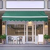 JOO LIFE Manual Patio Retractable Awning Window/Door Sun Shade Shelter Outdoor Canopy Deck Awning (10'x8',Deep Green)