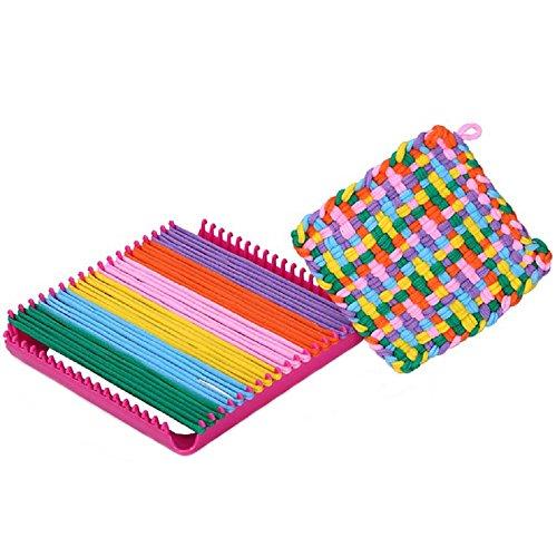 Careshine Weave Loom Kit Toy Craft Loom and Loop Set Weave Loom Kids Toy Including Loops, Loom, Yarn, Crochet Hook and Large Needle by Careshine
