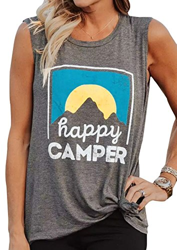 Women HappyCamper Tank Top Sunrise Sleeveless Camping T-Shirt Blouse Vest (Grey, -