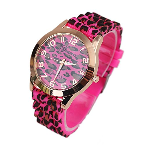 Wrist Watch,FTXJ Fashion Unisex Geneva Leopard Silicone Jelly Gel Quartz Analog Wrist Watch Hot Pink by FTXJ