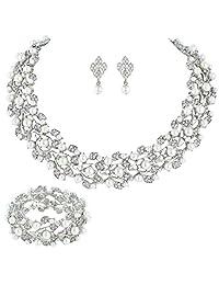 Bella-Vouge Bridal Wedding Jewelry Set Rhinestone Pearl Leaf necklace + earrings + Stretch Bracelet Sliver-NO.100