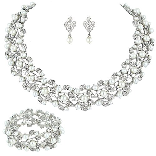 Bella-Vogue Bridal Wedding Jewelry Set Rhinestone Pearl Leaf necklace & earrings + Stretch Bracelet Sliver-NO.100