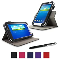 """rooCASE Samsung Galaxy Tab 3 7.0 Case - Dual View Multi-Angle Stand Tablet 7-Inch 7"""" Cover - BLACK"""