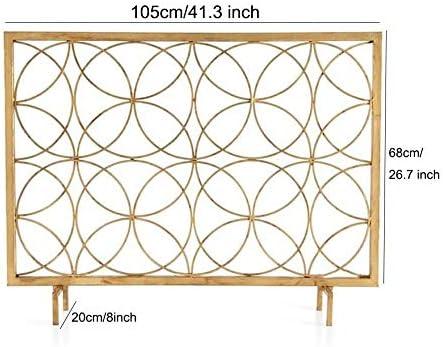 暖炉スクリーン MYL 単一のパネル錬鉄暖炉スクリーン、赤ちゃんの安全、スパークガードと薪ストーブアクセサリー用メッシュカバー付き大型インテリア立ち門 (Color : Gold, Size : 105×20×68cm)