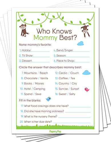 Who Knows Mommy Best Game Cards (Pack of 50) - Baby Shower Games Ideas for Boy or Girl - Gender Neutral - Party Activities Supplies - Safari Jungle Zoo Animals -