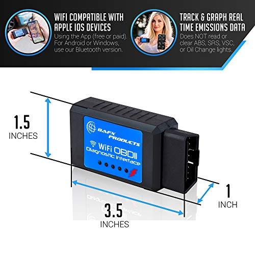 BAFX Products Wireless WiFi (OBDII) OBD2 Scanner & Reader - for iOS / iPhone & Android Devices