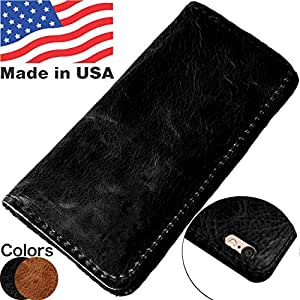 "MADE in USA iPhone 6/6s PLUS Folio Book Case | Genuine American Distressed Leather Wallet Book Case iPhone 6/6S PLUS 4.7"" 3 Credit Card Slos, ID / Bill Compartment, Best Screen Protection (Black)"