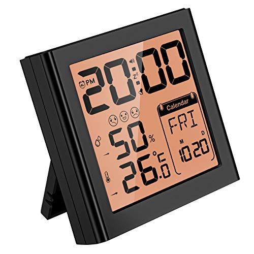 Mpow Travel Alarm Clock with Calendar,Temperature Humidity Monitor, Snooze Function,Clear Time Display with Two Backlight Choice,Easy Setup,Hygrometer Thermomete for Bedroom Kitchen (Battery Included)