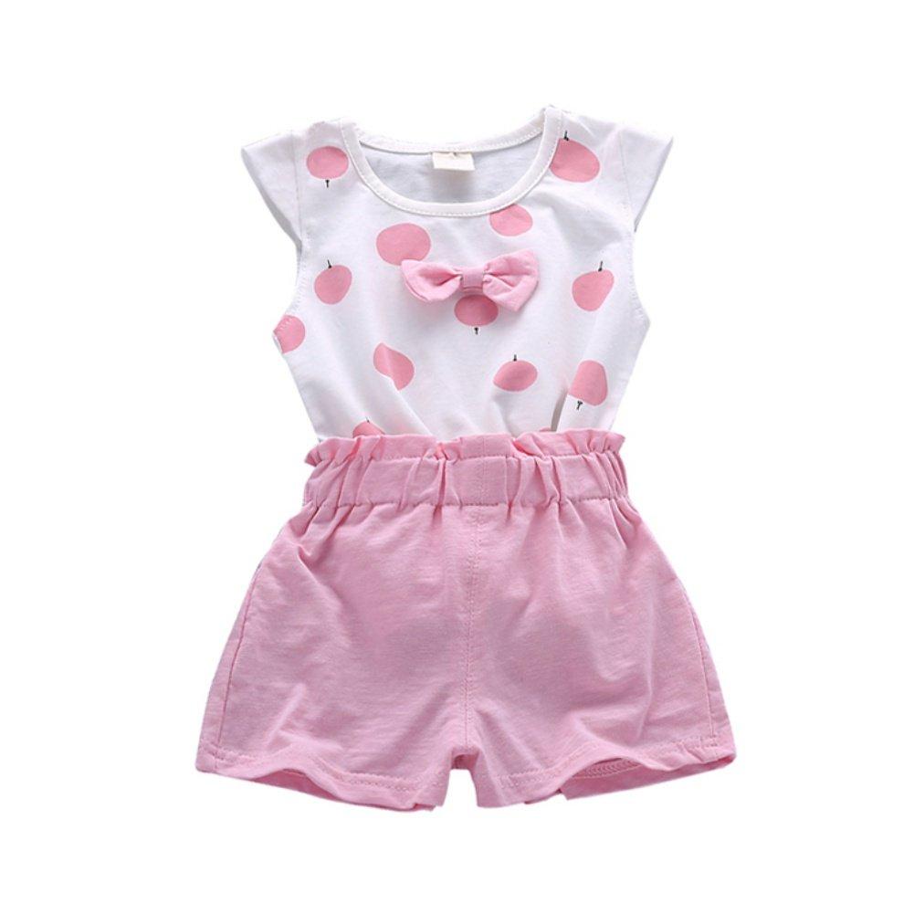 Brightup 2 Pieces Toddler Kids Baby Girls Outfits Print T-Shirt Sleeveless Tops + Short Pants Summer Set
