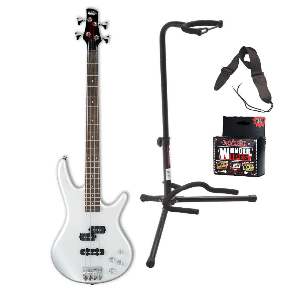 Ibanez GSR200 GIO Electric Bass Guitar (Pearl White) Bundle Includes Guitar Stand, Guitar Strap and Wonder Wipes