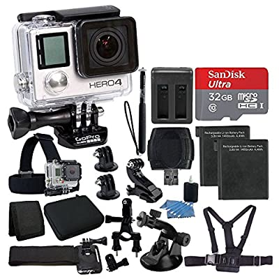 GoPro HERO4 SILVER Edition Camera HD Camcorder With Deluxe Carrying Case + Head Strap + Chest Strap + 2 Battery And Dual Charger + 32GB SDHC MicroSD Memory Card Complete Deluxe Accessory Bundle