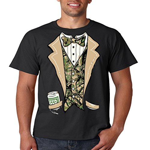 Camo Tuxedo T Shirt Beer In My Pocket Mens Tee S-5XL (Black, S) (Mens Dress Up Outfits)