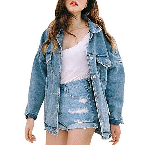 Plein Blau Mode Jeune Femmes Manches Baggy Vestes Manteau Automne Poitrine Avant Poches En Veste Jeans Revers Longue Air Simple Cérémonie SxxAqZfn