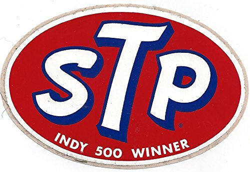 - STP Indy 500 Winner Racing Decal Sticker 4-7/8 Inches Long Size Vintage