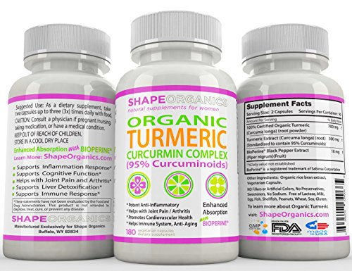 Shape Organics TURMERIC CURCUMIN 180CT 2100mg 95% Pure Extract w BioPerine, DR Recommended Anti inflammatory Stress Relief of Joint Pain Inflammation Diet Immune System Liver Detox Booster Veg Capsule (Best Cardio Exercise For Piriformis Syndrome)