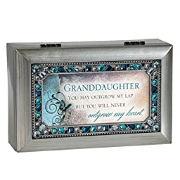 Granddaughter Jeweled Silver Finish Jewelry Music Box - Plays Tune You Are My Sunshine