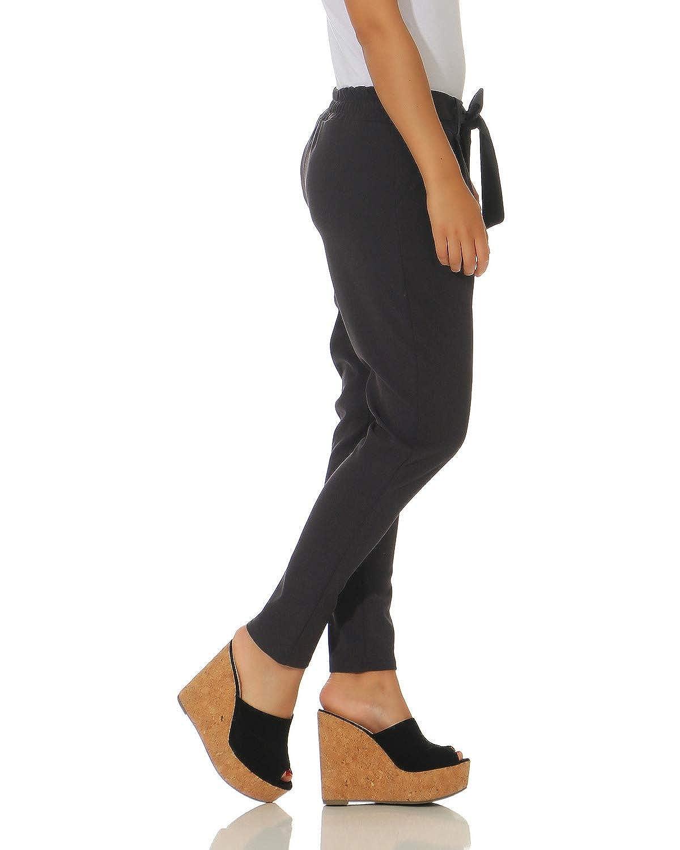 ZARMEXX Pantalones Pantalones para Mujer Pantalones con cinturón de Lazo Integrado Cintura Alta Negocios Casual 7/8 Talla de Zanahoria: Amazon.es: Ropa y ...