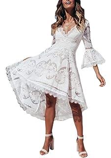 0c07d4a4d34bbc Ufatansy Damen Sommerkleider Spitze Kleid Strandkleid Swing Boho Kleid  Abendkleider