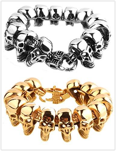 skull bracelet chain punk men jewelry - 7