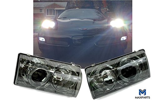 Lights Fits 1997-2004 Chevy Corvette C5 Headlights Projector Lamp Chrome Housing Smoke Lens Dual LED Halo - Chevy Corvette Projector Headlights