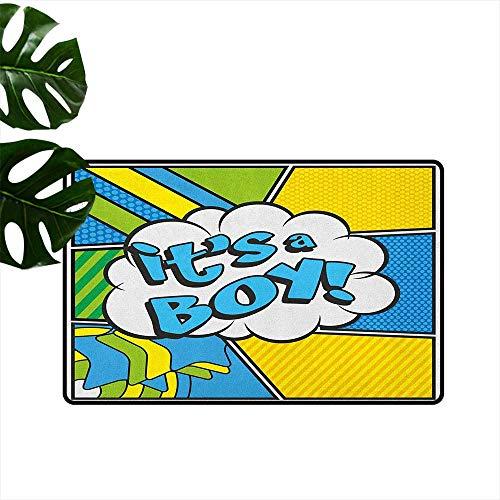 Art Custom Announcements - LilyDecorH Gender Reveal,Custom Floor Mat Pop Art Style Comics Its A Boy Vintage Announcement Theme 36