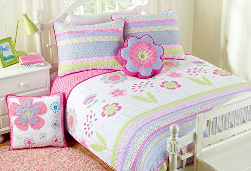 Cozy Line Home Fashions Pink Blossom Floral Print 100% Cotton Reversible Quilt Bedding Set, Coverlet, Bedspreads (Full/Queen – 5 Piece: 1 Quilt + 2 Standard Shams + 2 Decorative Pillows)