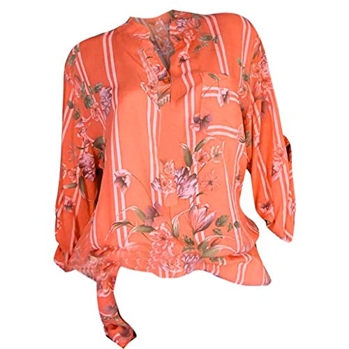 Floral Printed Work Shirt Blouse Tops,Londony Women Button Down Shirts Long Sleeve Chiffon Office Casual Blouses Orange