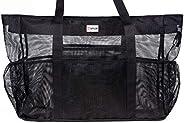 "Mesh Beach Bag XXL (HUGE) - L24""xH18""xW8"" (55L) - 100% Waterproof Phone Case - Padded Handles - Top Zip - Expa"
