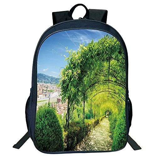 DKFDS Backpacks Unisex School Students Black Italian Decor,Boboli Gardens in Florence Italy Famous Natural Landmark Tourist Attraction,Green Blue Kids,