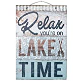 "lake home decor  Relax You're On Lake Time Nautical Wooden Plaque with Corrugated Sheet Metal, 20"" x 14"" 