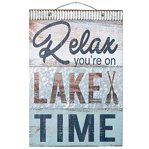 "Relax You're On Lake Time Nautical Wooden Plaque with Corrugated Sheet Metal, 20"" x 14"" 