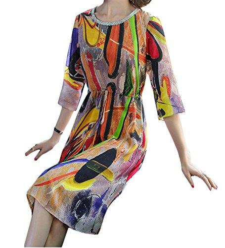 Jaycargogo O-cou Manches 3/4 Femmes Imprimé Floral Mi-longueur Accepter Robe Taille 1