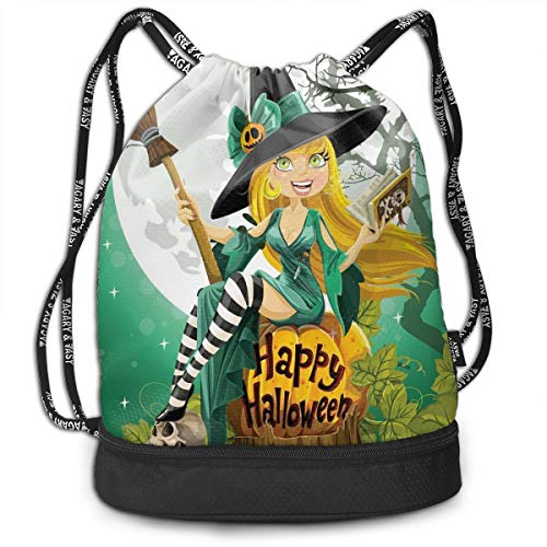 Drawstring Backpack bags, Cheerful Smiling Girl In Halloween Costume On A Pumpkin Giant Moon Woodland -